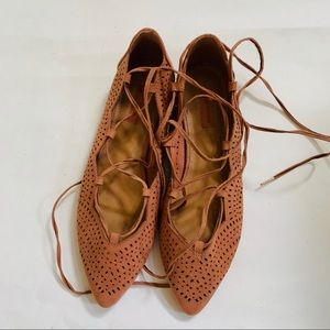 🆕Forever21 rust brown flat lace up shoe 7